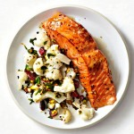Soy-Maple Salmon and Cauliflower with Cranberries & Pistachios
