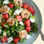 Green Salad with Watermelon, Feta Cheese and Shrimp