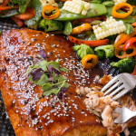 Hoisin lime glazed salmon vegetable melody