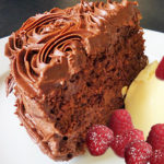 Chocolate Cake ice cream raspberries
