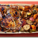 one pan honey-balsamic chicken legs veggies